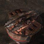 七輪で秋刀魚